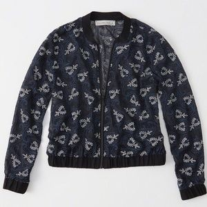 NWT ABERCROMBIE & FITCH EMBROIDERED BOMBER JACKET